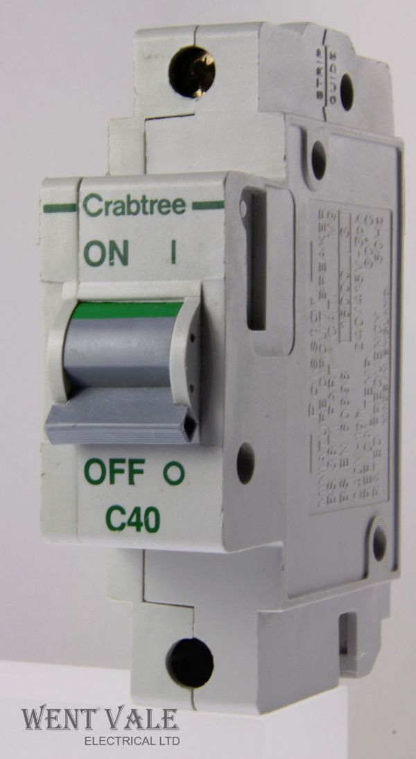Crabtree Polestar - 60C/40 - 40a Type C Single Pole MCB Used